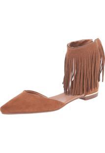Sapatilha Dafiti Shoes Dorsay Franjas Caramelo