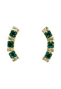 Brinco Ear Cuff Cristais Esmeraldas Quadradas Banhado A Ouro 18K
