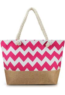 Bolsa De Praia Estampada Lisa Com Alça De Corda Jacki Design Pink Com Marrom - Kanui