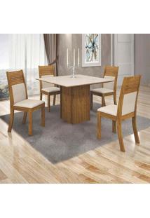 Conjunto De Mesa De Jantar Napoli Com 4 Cadeiras Havaí Jacquard Canela E Off White