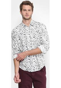 Camisa Reserva Floral Masculina - Masculino-Branco