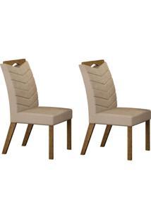 Conjunto Com 2 Cadeiras Verona Ipê E Veludo Palha