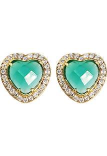 Brinco Coração Banho De Ouro 18K Cristal Verde Facetado E Zircônias - Kanui