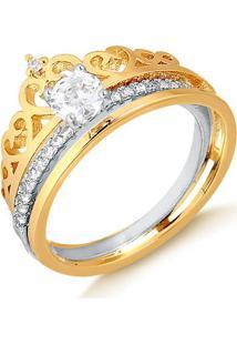 Anel De Coroa Com Solitário Em Ródio No Meio Folheado Em Ouro 18K - 1140000002065 12