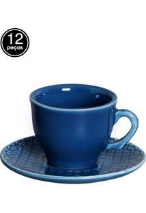 Conjunto 6 Xícaras De Café Bombain Azul Scalla