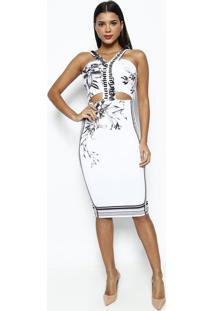 93e27da85 Privalia. Vestido Floral Com Pedrarias- Branco ...
