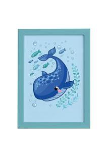 Quadro Infantil Fundo Do Mar Baleia Moldura Azul 22X32Cm