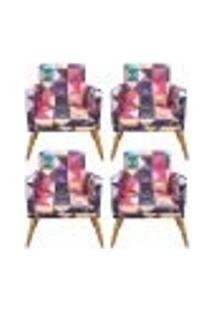Conjunto 4 Poltronas Decorativa Com Rodapé Nina Triângulos - Bela Casa Shop