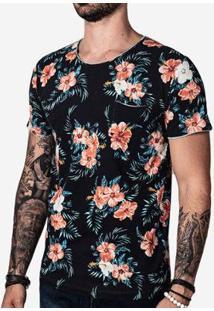 Camiseta Hermoso Compadre Estampada Gola Rasgada Masculina - Masculino-Preto