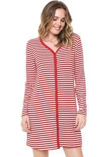 Camisola Bela Notte Curta Listrada Vermelha/Branca
