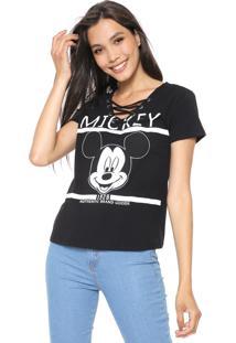 Blusa Cativa Disney Lace Up Mickey Preta