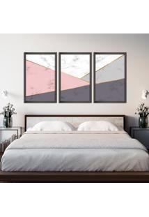 Quadro 60X120Cm Abstrato Escandinavo Coloridos Geométrico Triangulos Moldura Preta Sem Vidro - Mod: Oh5710