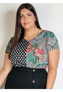 Blusa Floral/Poá Com Torção Na Barra Plus Size