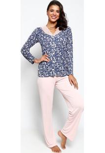 c0417cbe2 ... Pijama Com Renda- Azul Marinho   Rosa Claromonthal