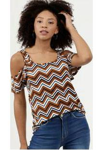 Blusa Feminina Open Shoulder Estampa Zig Zag Manga Curta