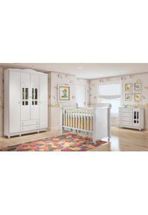 Quarto De Bebê Guarda Roupa 4 Portas, Cômoda Fraldário E Berço Mirelle Carolina Baby Branco Brilho