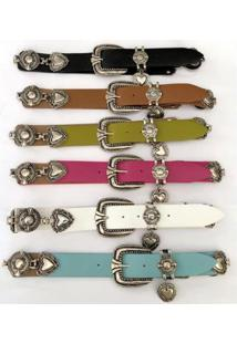Cinto De Couro Para Cintura Alta Arabesco - Cintos Exclusivos Feminino - Feminino-Azul