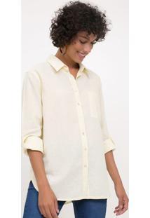 Camisa Com Bolso Frontal Em Linho