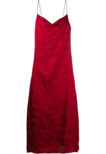 Kirin Slip Vestido De Jacquard Com Logo - Vermelho