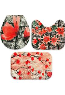 Jogo Tapate Love Decors Para Banheiro Beautiful Flowers Vemelho Único - Kanui