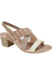 Sandália Com Tiras- Nude & Rosê- Salto: 5Cmcomfortflex