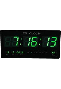 aaf137d1ca7 Relogio De Parede De Led Verde Digital Alarme Data Temperatura (Rel-59)