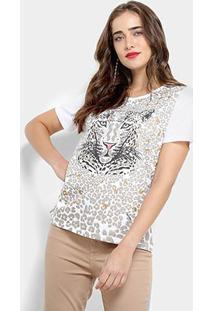Camiseta Carmim Animal Print Estampa Onça Feminina - Feminino