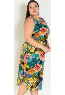 Vestido Midi Floral Barra Arredondada Plus Size