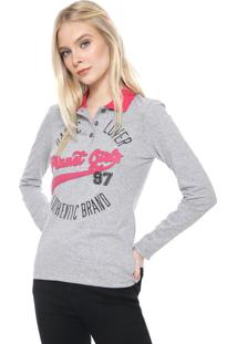 Camisa Polo Planet Girls Bordada Cinza