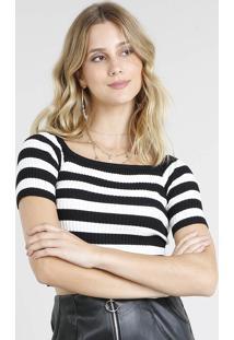 Blusa Feminina Cropped Listrada Em Tricô Preta