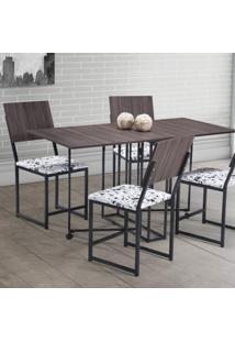 Conjunto De Mesa Com 4 Cadeiras Ísis Móveis Brastubo Ameixa Negra/Preto/Branco Antares
