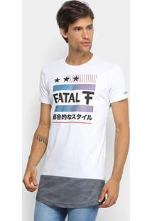 Camiseta Fatal Dry Alongada Masculina - Masculino-Branco