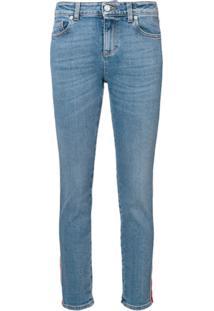 Alexander Mcqueen Calça Jeans Com Listra Lateral - Azul