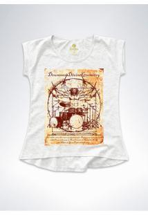 Camiseta T-Shirt Feminina Rock Cool Tees Bateria Da Vinci Mescla - Cinza - Feminino - Algodã£O - Dafiti