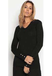 Suéter Em Tricô - Preto- Suzan Zhengsusan Zheng