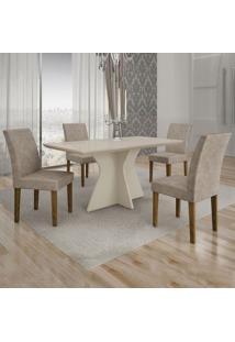 Conjunto De Mesa De Jantar Creta Iii Com 4 Cadeiras Olímpia Suede Off White E Cinza