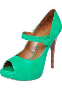 Peep Toe Di Cristalli Meia Pata Lindo Verde