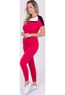 Blusa Miss Misses Moletinho Com Recortes Vermelho - Vermelho - Feminino - Dafiti