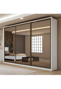 Guarda Roupa Casal Com Espelho 3 Portas 6 Gavetas Spazio Super Glass Móveis Lopas Branco