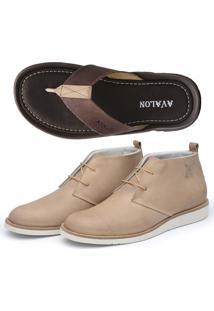 Kit 2 Pares Sapato Casual E Chinelo Avalon Bege/Marrom