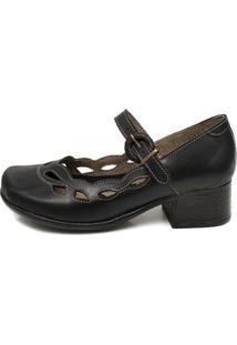 Sapato Miss Western Em Couro Salto Quadrado Preto