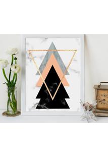 Quadro Decorativo Com Moldura Escandinavo Triângulos