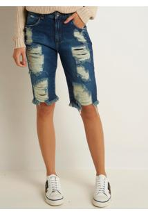 Bermuda Le Lis Blanc Soraia Jeans Azul Feminina (Jeans Escuro, 48)