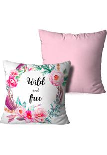 Kit 2 Capas Para Almofadas Decorativas Wild And Free Rosa 45X45Cm