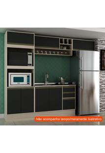 Cozinha Compacta Safira I 7 Pt 3 Gv Preta E Creme