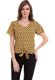 Blusa Kinara Crepe Estampa Geométrica Amarelo - Kanui