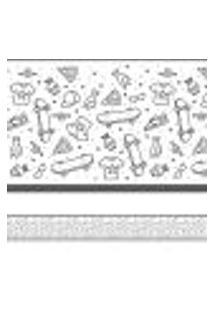 Adesivo De Parede Faixa Decorativa Infantil Skate 10M X 10Cm