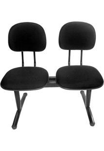 Cadeira Longarina 2 Lugares Preta Secretária