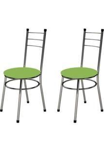 Kit 2 Cadeiras Baixas 0.236 Redonda Cromado/Verde - Marcheli