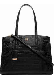 Tory Burch Walker Embossed Satchel - Preto